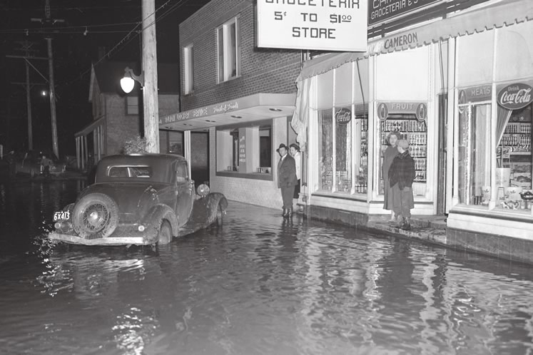 The Humber flooded Bolton in 1950. TRCA documents at least 78 damaging floods on the river between the early settlement years and Hurricane Hazel, every two to three years on average.