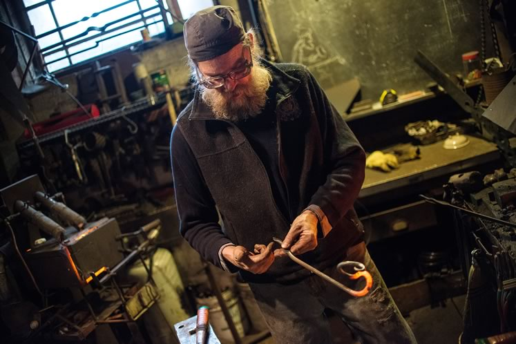 Darrell Markewitz is an expert in recreating Celtic and Nordic tools and artifacts and Art Nouveau-style pieces such as architectural railings. Photo by James MacDonald.