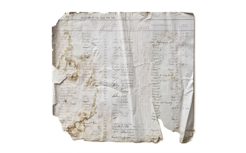 A very fragile ledger page from the 1890s Gaol Registry of Dufferin County. Click for larger image. Photo by Pete Paterson.