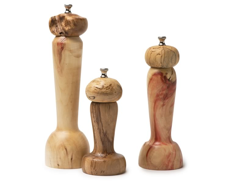 No two of Barry's line of pepper mills are alike. They start at $95. Photo by Pete Paterson.