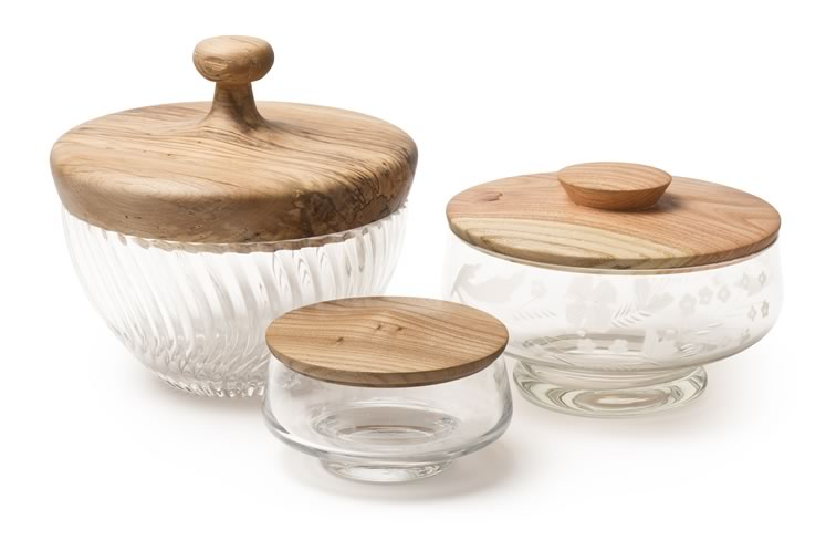Barry Young's lidded bowls transform vintage glass pieces into containers for bathroom necessities such as cotton balls or kitchen goodies such as cookies. They start at $75. Photo by Pete Paterson.