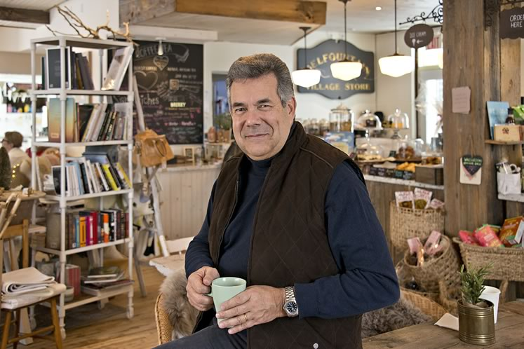 Eduardo Lafforgue enjoys a java at The Common Good Café and General Store in Belfountain. He cites the store and the heritage building it occupies as the kind of business that could effectively target the tourist trade even as it maintains its cozy rural character. Photo by Pete Paterson.