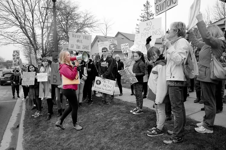 Inspired by young Swedish activist Greta Thunberg, Orangeville student Olivia Rowan urged on fellow protesters at a recent local climate strike. Photo by Rosemary Hasner / Black Dog Creative Arts.