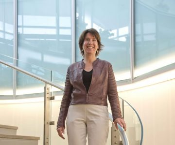 """Headwaters Health Care Centre CEO Stacey Daub has been working on patient service transitions for a decade: """"Imagine if you could eliminate those transitions, if it truly was all within one system."""" Photo by Pete Paterson."""