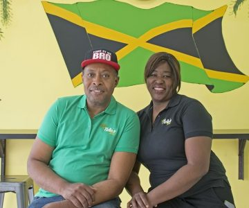 Arnella Levy and her husband, Nigel Spencer, at Nella's Jerk. Photo by Pete Paterson.