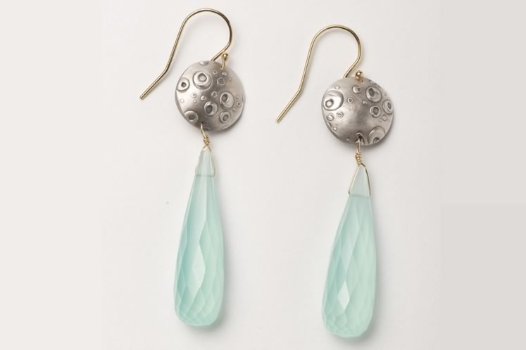 These sea-foam green chalcedony drop earrings have a sterling bubble top and gold findings. 