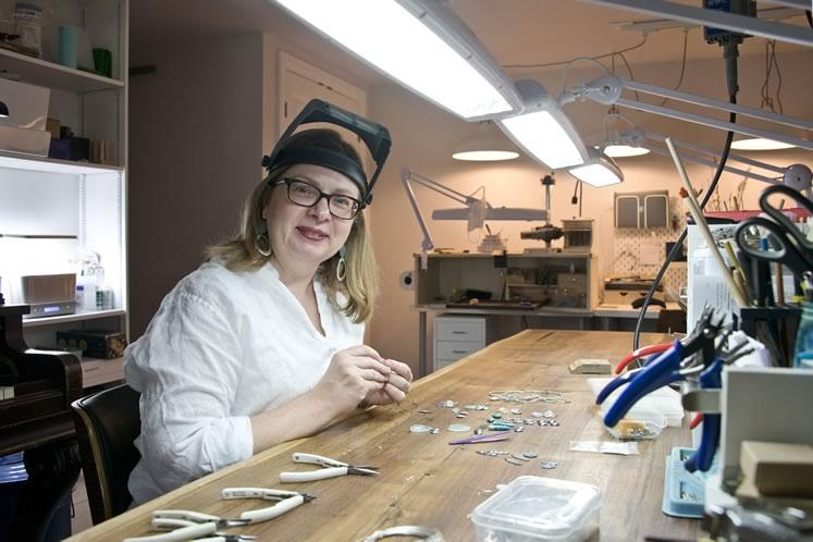 Air & Earth Design jeweller Heidi von der Gathen at work in her expansive Orangeville studio. Photo by Pete Paterson.