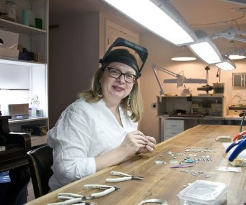 Air & Earth Design jeweller Heidi von der Gathen at work in her expansive Orangeville studio. Photo by Pete Paterson.