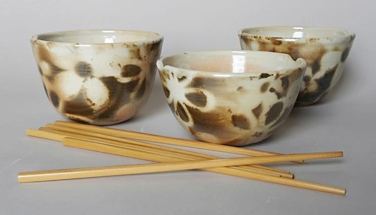 "Ann Randeraad~ Retro Daisies (noodle bowls)3.3"" x 5.5""wood-fired porcelain"