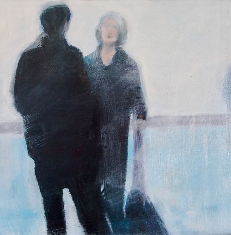 """Diana Hillman~ Early Morning 2 (Airport Series)8"""" x 8""""oils, pencil, wood panel"""