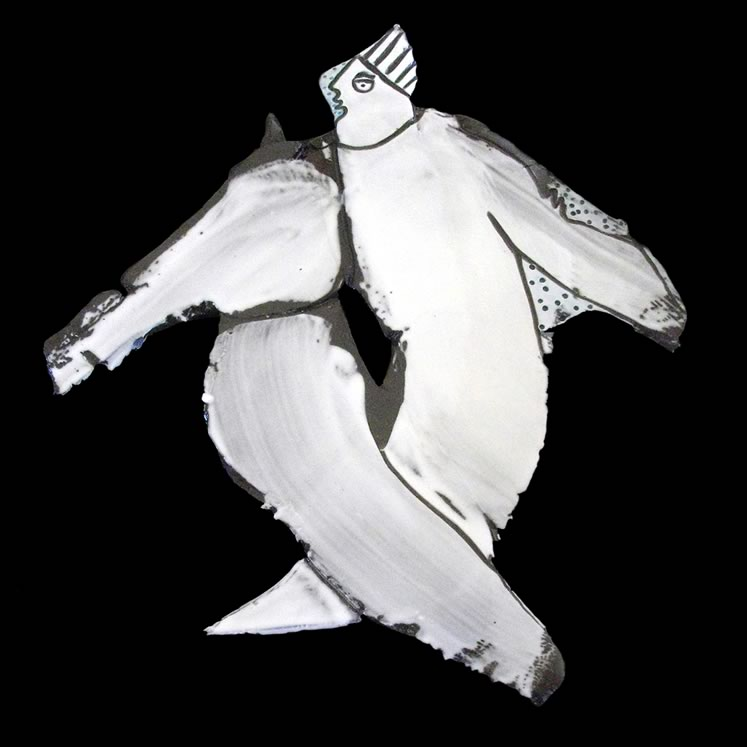 """Rosemary Molesworth~ Dancer With Blue Tile7.75"""" x 9.75""""clay, slip, stain"""