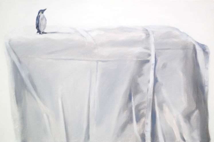 "Penguin on Bed-Sheet 16"" x 24"" Oil on canvas, panel ~ by Gita Karklins"