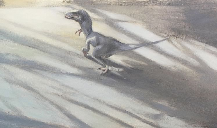 "Toy Dinosaur on Table with Plant Shadows (detail) 16"" x 54"" Oil on canvas, panel ~ by Gita Karklins"