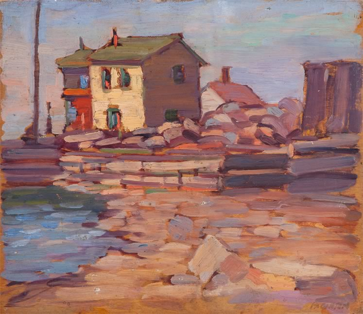 """Port Credit, Ontario, 1938"" by George Paginton, Canadian (1901–1988) Oil on board, 30.5 x 35.5 cm © Collection of Tony Paginton and Roswita Busskamp"