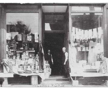 J.W. Kearns' grandfather Walker Kearns (left) and great uncle Will Kearns at J. Kearns & Son general store at 189 Broadway in Orangeville, c.1919. Courtesy J.W. Kearns.