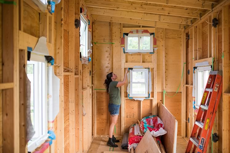 Alyssa Marchment is building a 200-square-foot tiny house on wheels and hopes to find a spot for it in Headwaters. Photo by James MacDonald.