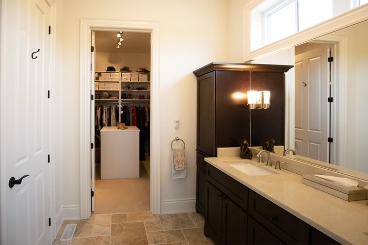 A view of the closet from the ensuite bathroom. Photo by Erin Fitzgibbon.