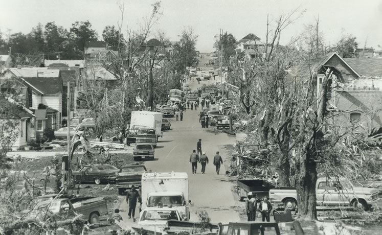 The scene along Amaranth Street in Grand Valley looked post-apocalyptic in the aftermath of a devastating tornado on May 31, 1985. David Cooper/Toronto Star via Getty Images.