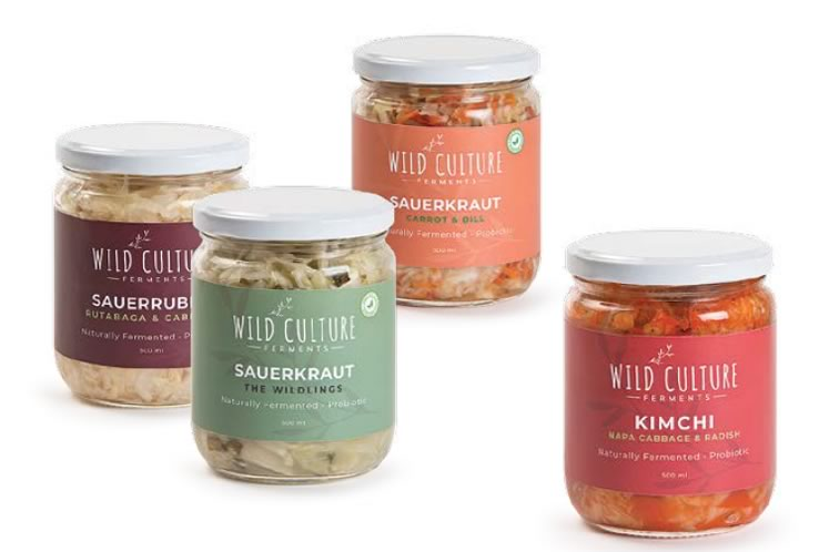 A few varieties of Andrea's Wild Culture Ferments sauerkraut and kimchi. Photo by Pete Paterson.