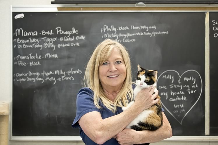 Sharon Morden and Raccoon (since adopted) of Feral Cat Rescue in Melancthon. Photo by Pete Paterson.