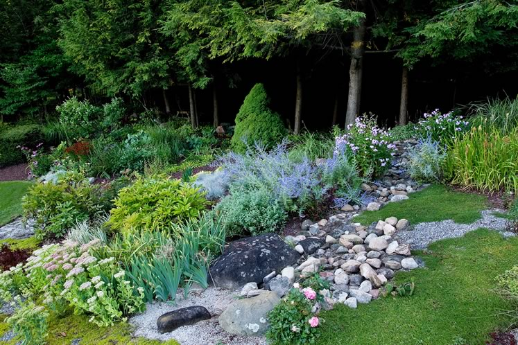 Rocks and gravel run like a natural stream through a section of the garden. Photo by Rosemary Hasner / Black Dog Creative Arts.