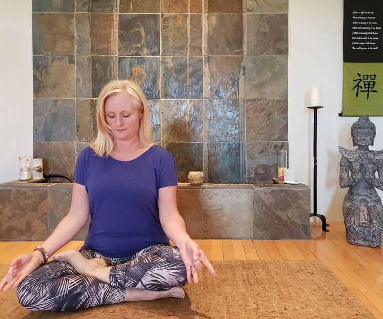 Sharon Edmonds set aside her jitters and now teaches her yoga classes using the Zoom app.
