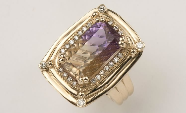 A one-of-a-kind ametrine and diamond ring in 18-karat gold by Anne-Marie Warburton. Photo Courtesy Anne-Marie Warburton.