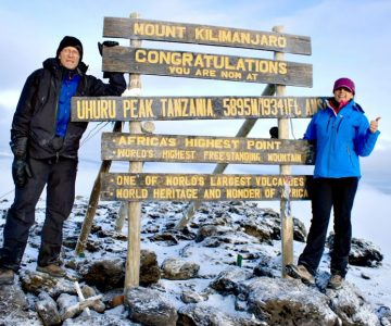 Herb Hastings celebrated his 71st birthday at the summit of Mount Kilimanjaro with his daughter Annette. Photo Courtesy Herb Hastings.