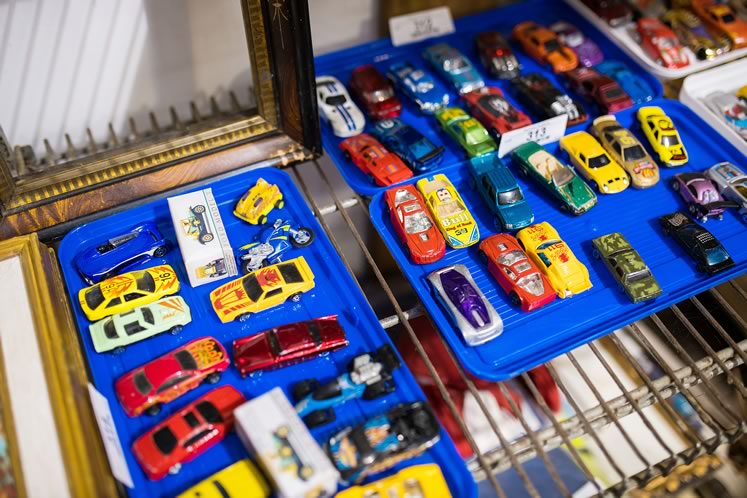 Toy cars at Reinhart Auctions. Photo by James MacDonald.