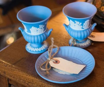 Wedgwood blue jasperware at The Wright Attitude Shoppe in a Shed. Photo by James MacDonald.