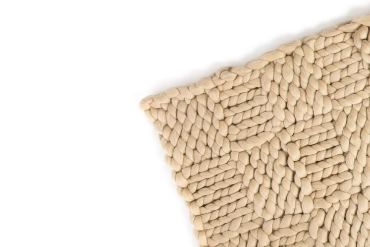 A cappuccino-coloured throw blanket in Svetlana's trademark chunky merino wool. Photo by Pete Paterson.