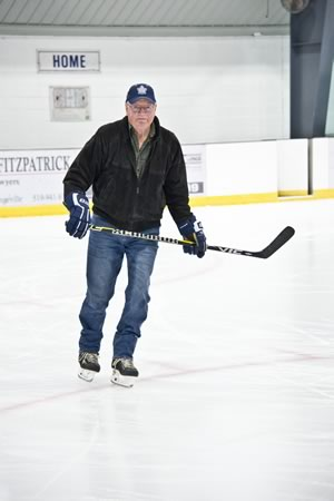 Al Waltho may have replaced two hips and a knee, but he's not quite ready to hang up his skates. Photo by Pete Paterson.