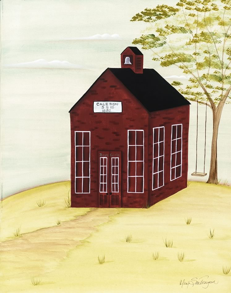"""Little Red Schoolhouse 20"""" x 16"""" ~ by Mary Scattergood"""