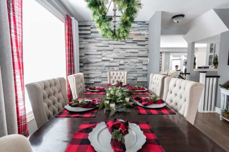 Buffalo plaid accents warm up the holiday table. Photo by Erin Fitzgibbon.