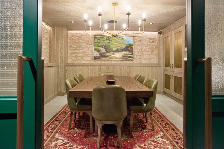 The private dining room tucked into the lower level of the restaurant. Photo by Pete Paterson.
