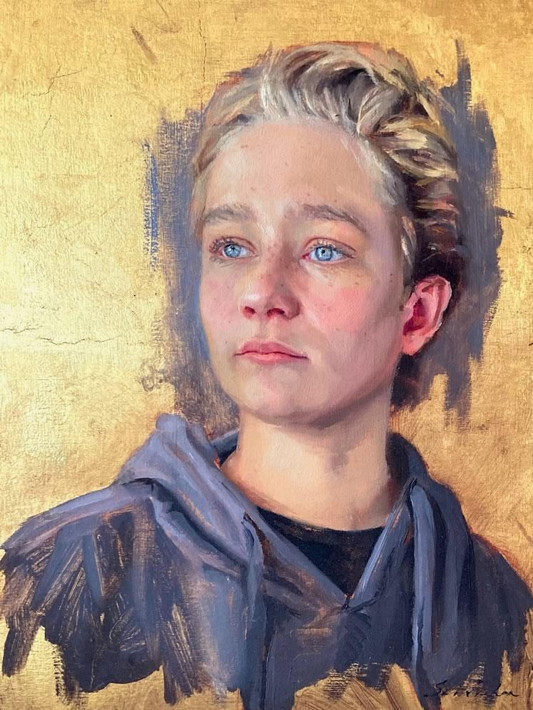 "Jackson at 149"" x 12""oil, gold leaf on wood ~ by Sara Sniderhan"