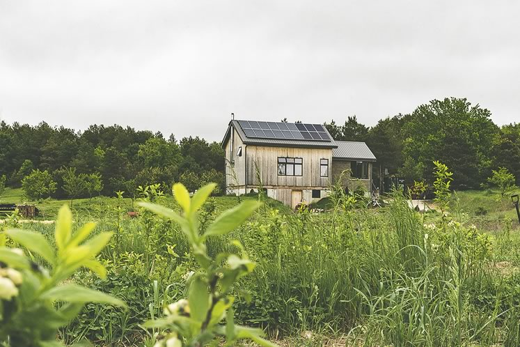 Sara Sniderhan and Peter Mitchell's off-grid home looks over a lush 22-acre property near Creemore. The artists (and now farmers) built it after moving here in 2013. Photo by Erin Fitzgibbon.