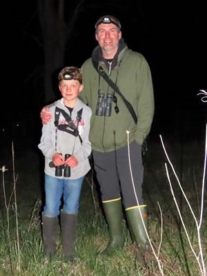 Nighttime explorers Dan MacNeil and his son Desmond. Photo by Don Scallen.