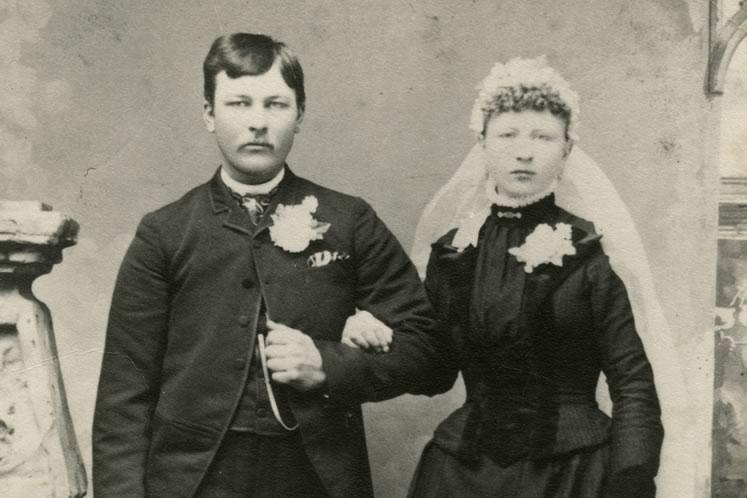 Samuel Swan and Christina Stemson, shown on their wedding day in 1889.