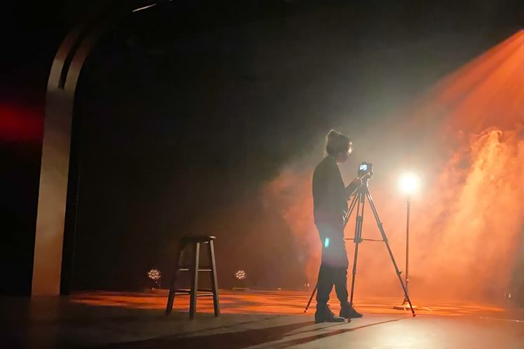 Videographer Sara May was one of the team hired during the pandemic to launch Theatre Orangeville Presents Online. Photo by Beckie Morris.