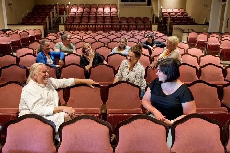 In the seats they hope will soon host theatre-lovers again, some of the staff who kept things going: (front row) David Nairn, artistic director; Sharyn Ayliffe, general manager; (rear rows, left to right) Diane Bator, box office manager; Lisa Lahue, technical director; Sara May, videographer; Kait Gallant, programs co-ordinator; Paula Stewart, office manager; Dan Palmieri, assistant technical director; Beckie Morris, production manager. Photo by Pete Paterson.