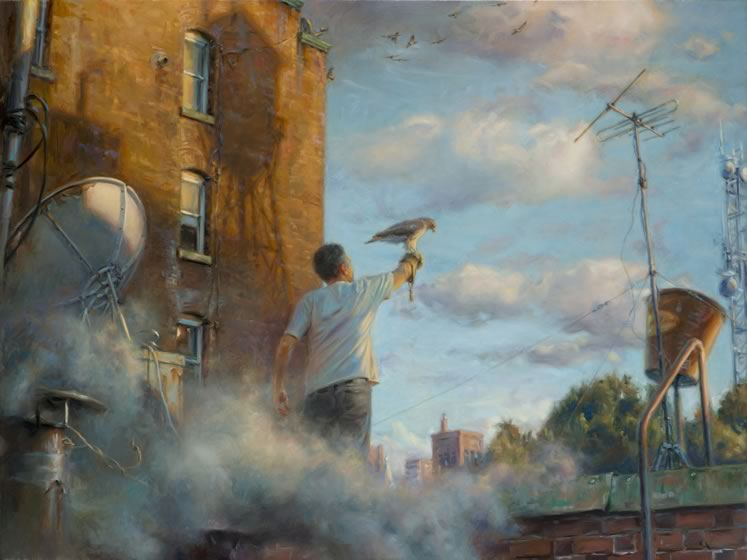 Fluffy clouds and billowing steam frame the artist's self-portrait in the stark urban landscape of Artist and Hawk.