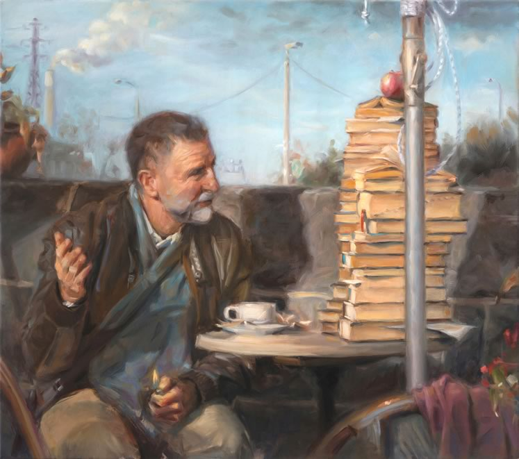 In Balzac's Café, an erudite man communes with a stack of books over a cup of coffee while he toys with a flaming lighter.