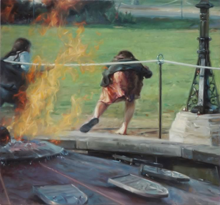 In the unsettling Parliament Hill, women crouch and run near the Canadian capital's Centennial Flame. Fire is a frequent visual trope in Volpe's work.