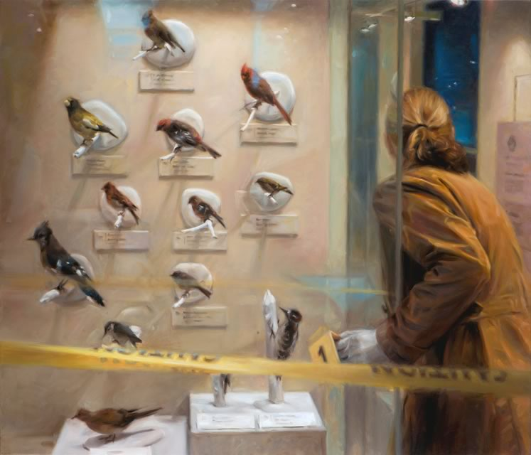 Police crime scene tape creates an air of anxiety around a museum exhibit of taxidermized birds in Winter Gathering.