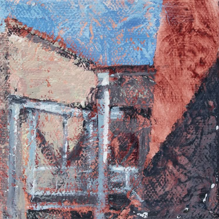 "Glimpses Mill 4"" x 4"" acrylic ~ by Kayla Jackson"