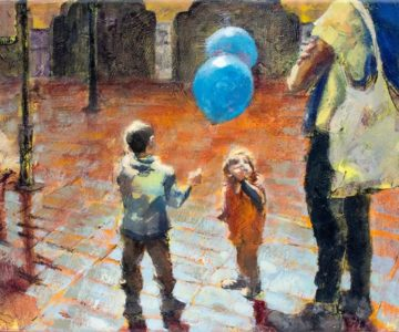 """Tenerife Market Kids 9"""" x 12"""" acrylic ~ by Kayla Jackson"""